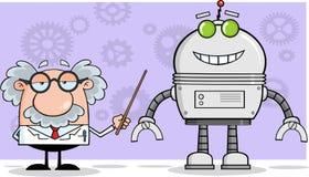 Naukowiec Lub profesor Pokazujemy Jego pointerowi Dużego robot Fotografia Royalty Free