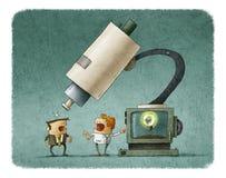 Naukowiec pokazuje pomysł na monitorze używa mikroskop ilustracja wektor