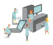 Naukowowie w lab z dużymi przyrządami zdjęcie royalty free