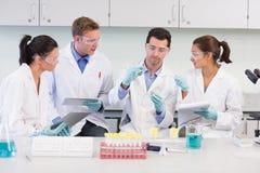 Naukowowie z pastylka pecetem pracuje na eksperymencie przy lab zdjęcie royalty free