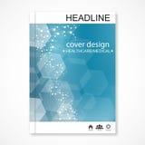 Naukowy broszurka projekta szablon Wektorowy ulotka układ, Cząsteczkowa struktura z związanymi liniami i kropki, naukowy royalty ilustracja