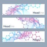 Naukowy set nowożytni wektorowi sztandary DNA molekuły struktura z związanymi liniami i kropkami Nauka wektoru tło Fotografia Stock
