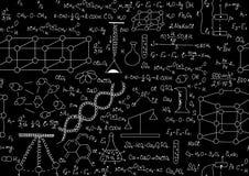 Naukowy wektorowy bezszwowy wzór z chemicznymi i fizycznymi formułami, knuje i spiskuje Obrazy Royalty Free