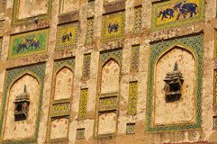 Naulakha Pavilion decoration Lahore fort, Pakistan. Elephant Gate ,The decoration was begun by that lover of the arts, Jahangir, though Shah Jahan saw it Royalty Free Stock Photography