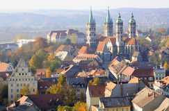 Naumburg Cathedral, Saxony-Anhalt, Germany. St. Peter and Paul's Cathedral in Naumburg town (known in German as the Naumburger Dom); aerial view; photograph Stock Photo
