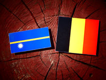 Nauru flag with Belgian flag on a tree stump isolated Stock Image
