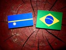 Nauru flag with Brazilian flag on a tree stump isolated Stock Photography