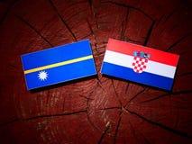Nauru flag with Croatian flag on a tree stump  Royalty Free Stock Image