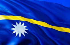 Nauru flag. 3D Waving flag design. The national symbol of Nauru, 3D rendering. National colors and National flag of Nauru for a royalty free stock photo