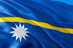 Nauru flag. 3D Waving flag design. The national symbol of Nauru, 3D rendering. The national symbol of Nauru background wallpaper. 3D ribbon, wallpaper, pattern stock image