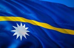 Nauru flag. 3D Waving flag design. The national symbol of Nauru, 3D rendering. Nauru 3D Waving sign design. Waving sign background. Wallpaper. 3D pattern royalty free stock image