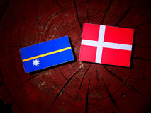 Nauru flag with Danish flag on a tree stump isolated Royalty Free Stock Image