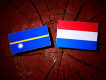 Nauru flag with Dutch flag on a tree stump isolated Stock Images