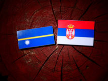 Nauru flag with Serbian flag on a tree stump isolated Royalty Free Stock Photography
