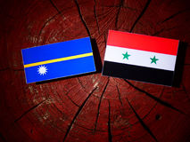 Nauru flag with Syrian flag on a tree stump isolated Royalty Free Stock Photography