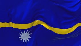 Nauru Flag Waving in Wind Continuous Seamless Loop Background. royalty free illustration