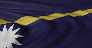 Nauru-Flagge, die in der leichten Brise flattert Lizenzfreie Stockbilder