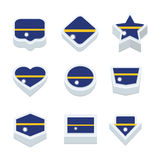 Nauru flags icons and button set nine styles Royalty Free Stock Images