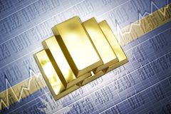 Nauru gold reserves. Shining golden bullions lie on a Nauru flag background Stock Images
