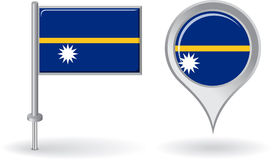 Nauru pin icon and map pointer flag. Vector Stock Photography