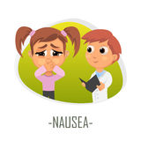 Nausea medical concept. Vector illustration. Royalty Free Stock Photography