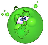 Nauseous emoticon. Design of an emoticon with nausea Stock Images