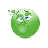 Nauseous emoticon Stock Images