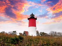 Nauset Lighthouse on the Cape Cod National Seashore stock photos