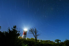 Nauset Lighthouse star trails Royalty Free Stock Photos