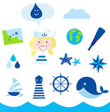 Nautic, sailor and adventure icons - blue. Stylized ocean icon set. Smiling small adventurer with accesories: map, compass, lighthouse, earth globe, whale, sea Stock Photo