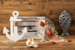 Nautic Summer Decoration With Wooden Background Royalty Free Stock Images