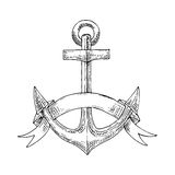 Nautical admiralty anchor with ribbon sketch Stock Images