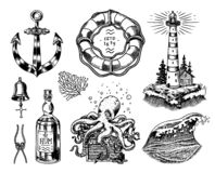 Free Nautical Adventure Set. Sea Lighthouse, Jellyfish And Marine Octopus And Shipping Sail, Old Sailor, Ocean Waves And Stock Photography - 170025652