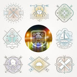 Nautical, adventures and travel emblems signs and labels Stock Photography