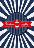 Nautical anchor. Old vector round retro vintage label on sunrays background Royalty Free Stock Photos