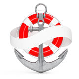 Nautical Anchor with Blank Ribbon for Your Sign. 3d Rendering Stock Photos