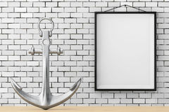 Nautical Anchor in front of Brick Wall with Blank Frame. 3d Rend. Nautical Anchor in front of Brick Wall with Blank Frame extreme closeup. 3d Rendering Royalty Free Stock Image