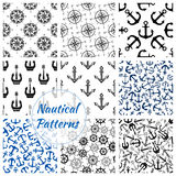 Nautical anchor, helm, compass seamless pattern. Marine anchor, helm, compass rose seamless pattern background. Nautical anchor, ship wheel and vintage navy rose Royalty Free Stock Photography
