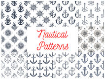 Nautical anchor, helm, compass seamless patterns Royalty Free Stock Photo
