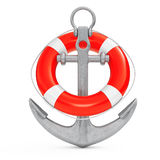 Nautical Anchor with Lifebuoy. 3d Rendering. Nautical Anchor with Lifebuoy on a white background. 3d Rendering Stock Photos