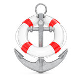 Nautical Anchor with Lifebuoy. 3d Rendering. Nautical Anchor with Lifebuoy on a white background. 3d Rendering Stock Images