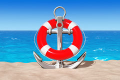 Nautical Anchor with Lifebuoy on the Sand Sunny Beach. 3d Render. Nautical Anchor with Lifebuoy on the Sand Sunny Beach extreme closeup. 3d Rendering Stock Images