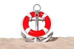 Nautical Anchor with Lifebuoy on the Sand Sunny Beach. 3d Render Royalty Free Stock Images