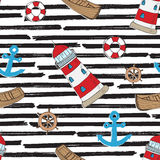 Nautical, Anchor and Lighthouse Seamless Pattern Vector Illustration. Royalty Free Stock Photo