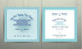 Nautical anchor rope tying the knot wedding card on cyan background. Nautical anchor rope tying the knot wedding card on polka dot pattern cyan background Stock Image