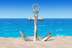 Nautical Anchor on the Sand Sunny Beach. 3d Rendering Royalty Free Stock Images