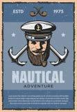 Nautical anchor and sea captain vintage banner Stock Photos