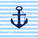 Nautical Anchor. Ship anchor illustration on a stripped blue and white background Stock Illustration
