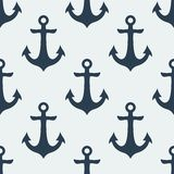 Nautical Anchor vector. Nautical blue metal anchor illustration isolated on white background. Vector seamless retro pattern with anchors silhouette. Can be used Stock Illustration