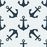 Nautical Anchor vector. Nautical blue metal anchor illustration isolated on white background. Vector seamless retro pattern with anchors silhouette. Can be used Vector Illustration